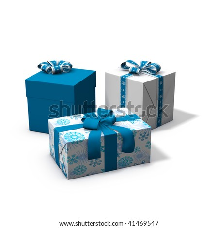 3d rendering/illustration of a blue and white christmas present