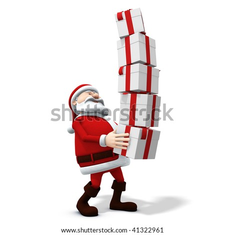 3d rendering/illustration of a cartoon santa balancing a stack of presents