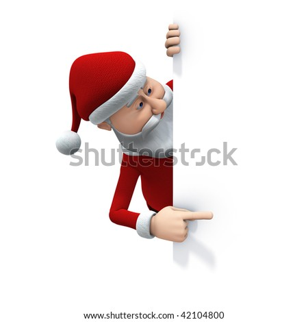 3d rendering/illustration of a cartoon santa behind a big sign looking and pointing at it