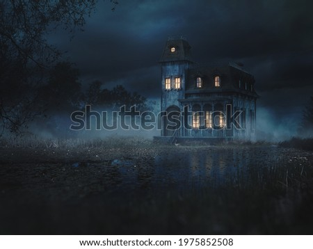 3D Rendering, illustration of a creepy  haunted mansion in a swamp at night. high contrast image