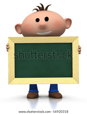 3d rendering/illustration of a cute cartoon boy holding a chalkboard in front of him