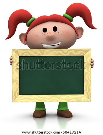 3d rendering/illustration of a cute cartoon girl with red pigtails holding a chalkboard in front of her - stock photo