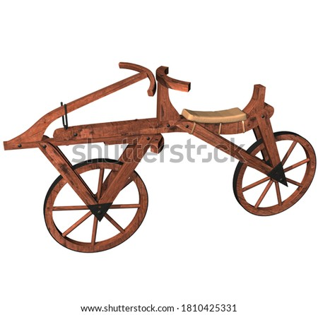 3D Rendering Illustration of a Draisine Bicycle or Velocipede; created and patented in 1818 by the german Baron Karl Von Drais whith wooden structure, metal components, two wheels, seat and handlebar. Stock fotó ©
