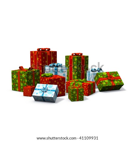 3d rendering/illustration of a pile of christmas presents