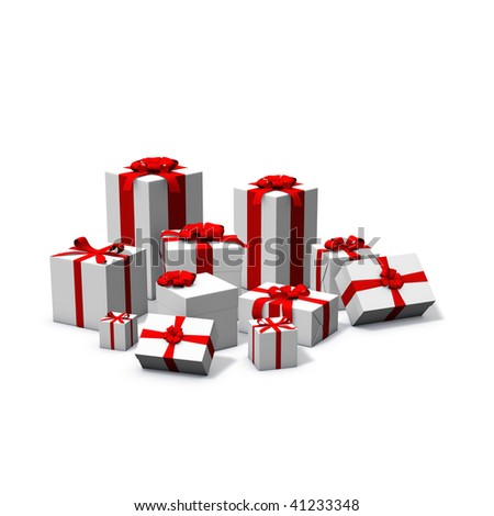 3d rendering/illustration of a pile of white and red presents