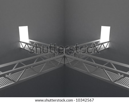 3d rendering illustration of a room with metal bridges