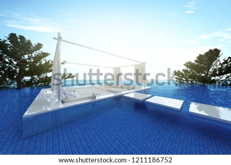 3D rendering : illustration of a soft sofa with sea view. sun loungers on private deck over swimming pool at luxury villa resort. travel in summer time concept. summer vacation travel. #1211186752