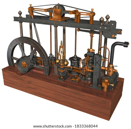 3D Rendering Illustration of a Steam Engine devised, built and perfected by Scottish inventor James Watt patented in 1769; based on the parallel motion of different metal components with wooden base. Foto stock ©