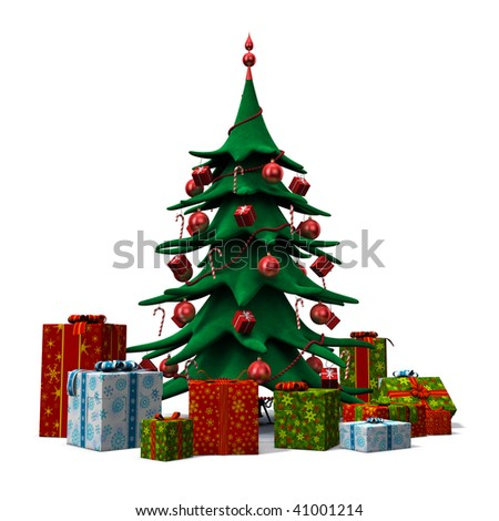 3d rendering/illustration of a stylized christmas tree with presents around it