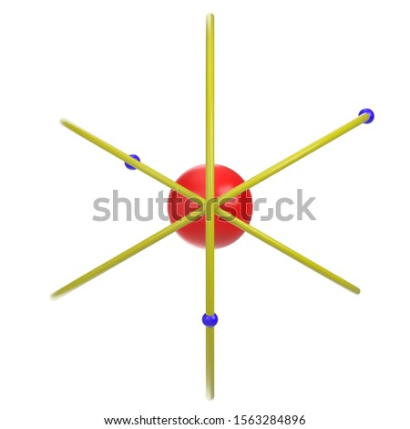 3D rendering illustration of a very simplistic atom model