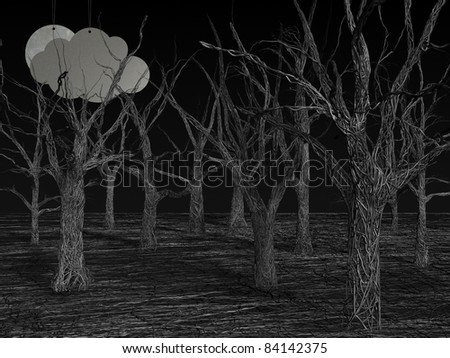 3d rendering illustration of a wire made forest
