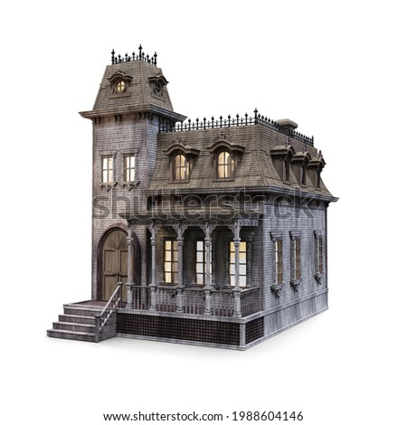 3D Rendering, illustration of an old creepy wooden doll house isolated on white Foto stock ©