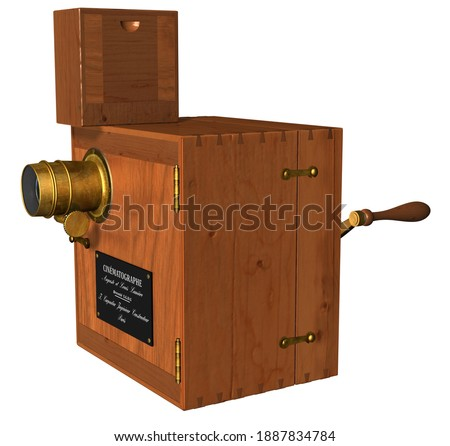 3D Rendering Illustration of an 1890s Lumière Brothers Cinematographe Prototype; with wooden body, metal components, lens, mirrors, objetive, crank, capable of capturing and projecting moving images. Photo stock ©