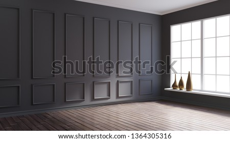 3d rendering illustration of big black room interior corner with big french windows, golden vases on sill and hardwood floor. Classical living room with molding, wall paneling. No furniture space.