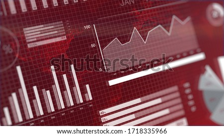 3D rendering illustration of charts and graphs showing a stock market crash