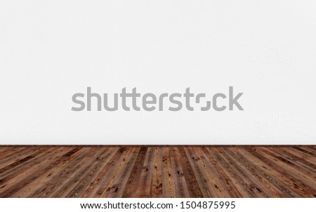 3D rendering illustration of empty living room with vintage oak wooden floor and white painted wall. Can be used for design interior.