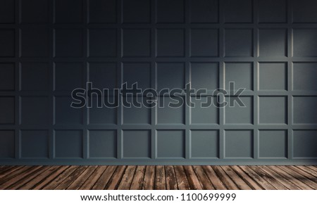 3d rendering illustration of living room with luxury dark blue wooden wall panel and hardwood floor. Classic interior on sunny morning. Gorgeouos texture of squares.