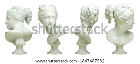 3D rendering illustration of marble bust of the Venus Italica in 4 views isolated on white background. Stock photo ©