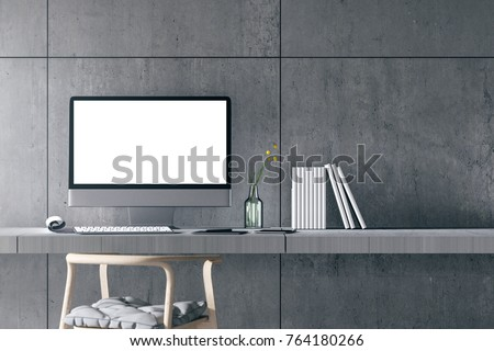 3D Rendering : illustration of modern interior Creative designer office desktop with PC computer. mock up working place. light from outside. loft cement wall background. clipping path included