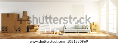 3D rendering : illustration of panorama empty cozy room for paint and decoration your new home concept. re-new your home concept. design your interior. move into new home. stack of many box packaged