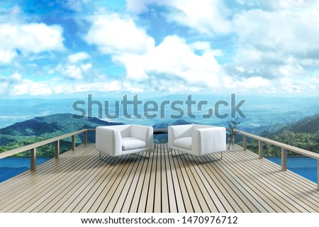 3D Rendering : illustration of resting area of balcony with two couch armchair sofa outdoor. high view. sun deck of resort. mountain view and blue sky with cloud. take a rest time concept.