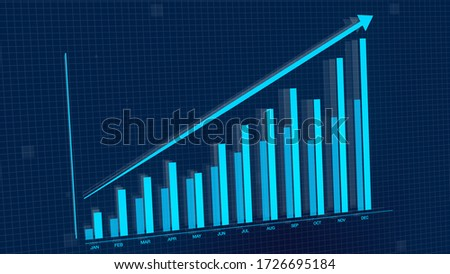 3D rendering illustration of rising blue bar graph chart with up arrow. Stock Market value perfect for presentations.