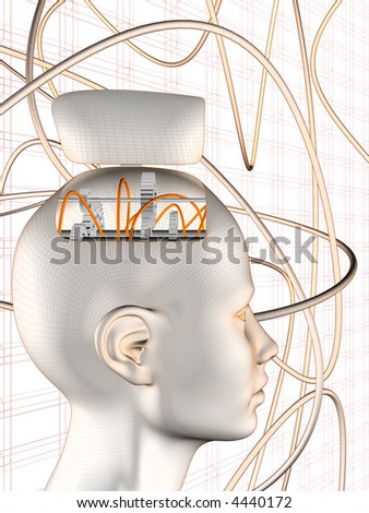 3d rendering illustration of robotic head. A clipping path is included for easy editing.