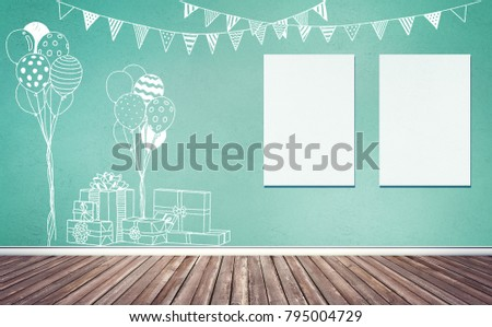 3d rendering illustration of room preparing for party, baby showers, birthday. Chalk sketches of gifts, balloons and flags decoration on colored wall. Two blank frames on wall, poster, artwork mock up