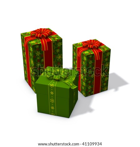 3d rendering/illustration of three christmas presents mostly green