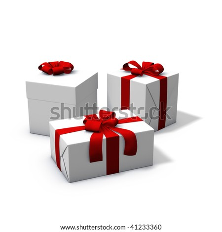 3d rendering/illustration of three white and red presents