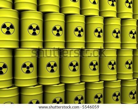 3d rendering illustration of toxic waste barrels