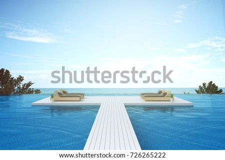 3D rendering : illustration of walk way to Beach lounge. sun loungers on Sunbathing deck and private swimming pool with sea view at luxury villa resort. travel in summer time concept. #726265222