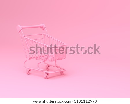 3d rendering illustration pink Shopping Carts with on pink background