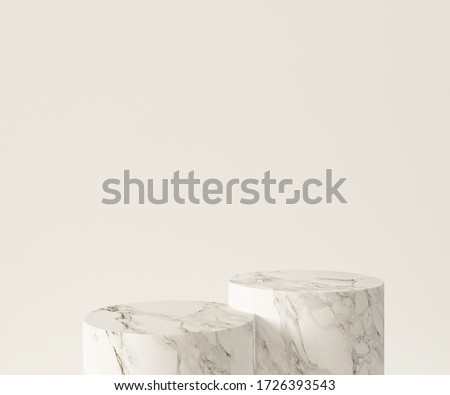 3D Rendering - Illustration white marble pedestal isolated on white background, modern minimal concept, empty stage, abstract geometry shape pastel color, Cosmetic background for product presentation.