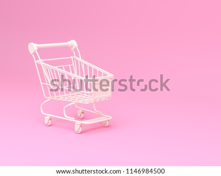 3d rendering illustration white Shopping Cart with on pink background