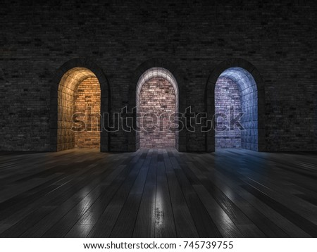 3d rendering image of 3 arch door made by stone place on the wooden floor. different color light effect made by use 3 different of lamps. Color temperature scale. Cool white,warm white, day light.