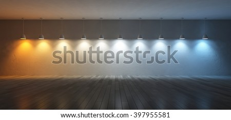 3D rendering image of 10 hanging lamps which use different bulbs. Color temperature scale. spectrum color on the cracked concrete wall and wooden floor