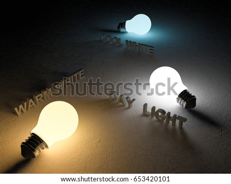 3D rendering image of 3 light bulb or lamps place on the cracked concrete floor. Night scense perspective. Color temperature scale. Cool white,warm white, day light. different 3 colors of light effect