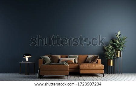 3D rendering image of Modern living room interior design and blue wall texture background