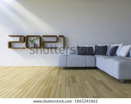 3d rendering image of 2021  wooden shelf on white brick wall. white sofa set on the wooden floor. background for new year festival.