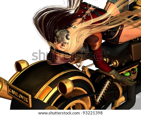 3d rendering in a beauty lying on a motorcycle ls illustration