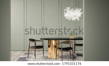 3d rendering interior meeting room or dining room decorated with green pastel classic wall panel, wooden chiar.