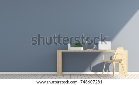 3D Rendering Interior minimal coffee shop or living room and wall decorate   #748607281
