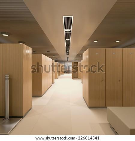 3d rendering. Interior of a locker/changing room