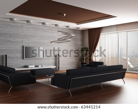 3d rendering. Interior of a modern drawing room of a room with two dark sofas and a house cinema near a wall from a stone tile