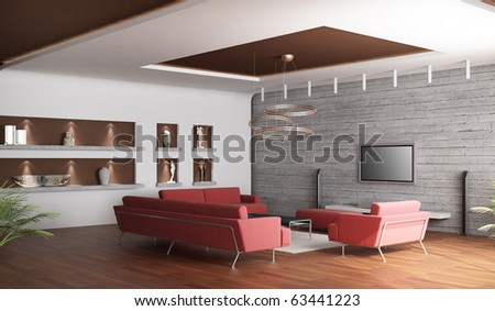 3d rendering. Interior of a spacious drawing room of a room with three red sofas and a white carpet