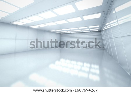 3d rendering interior white and clean empty room or factory