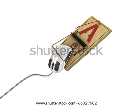 3d rendering, Internet fraud concept image. isolated on white background.