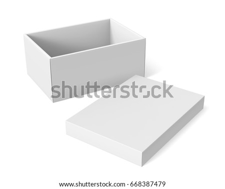 3d rendering left tilt blank white paper open box with separate lid on the ground for design use, isolated white background, elevated view stock photo