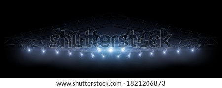 3D rendering lighting equipment on a stage. Blue light. Spotlight shines on the stage, scene, podium. Bright lighting with spotlights. Isolated light in black. Background. 3D